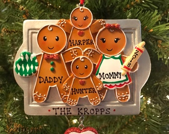 Personalized Gingerbread Family of 4 Christmas Ornament