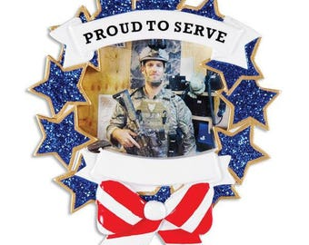 Personalized Proud to Serve military Christmas Ornament