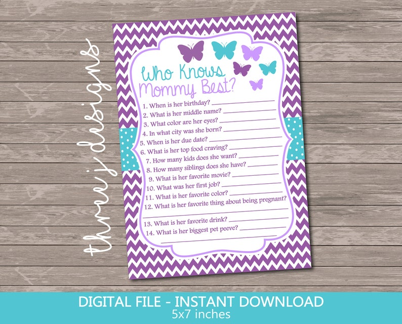 Digital File J001 Purple and Teal INSTANT DOWNLOAD Butterfly Baby Shower Candy Guessing Game Cards and Sign