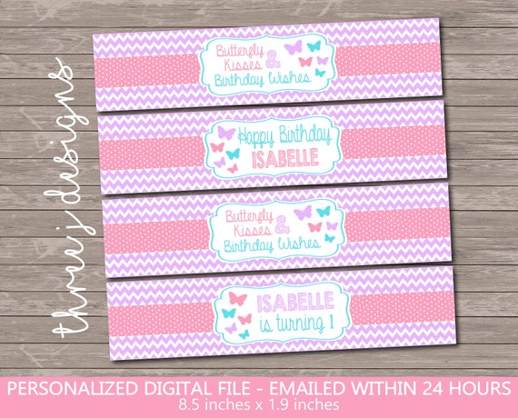 Pink Butterfly Birthday Party Thank You Card INSTANT DOWNLOAD Digital File Green and Blue Pastel Purple J010