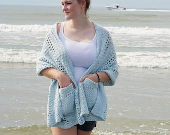 Crochet Shawl PATTERN  // Boho Shawl // Wrap  // Scarf // Pocket Scarf // Crochet Pocket Shawl Pattern // Ruana // Easy // Boardwalk Wrap