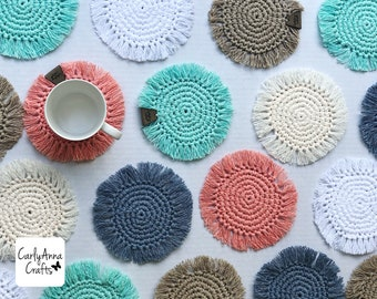 boho coasters // crochet coasters // mug rug // macrame // colorful // absorbent // drink coaster // wedding decor // housewarming gift
