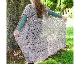 Crochet Duster Pattern  // Boho Ruana // Long Cardigan // Fall Pullover // Easy Mesh Sweater Wrap // Light Top // Driftwood Duster PATTERN