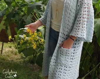 Crochet Cardigan PATTERN  // Boho Cardi // Wrap // Kimono // Scarf // Pocket Shawl // Sweater // Ruana // Easy // Open Blossoms Cardi