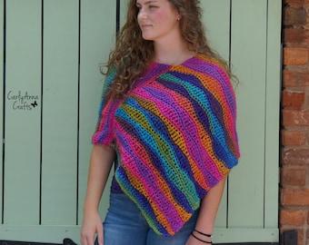 Crochet Poncho PATTERN  // Women's // Boho Shawl // Wrap  // Scarf // Colorful Poncho // Hippie // Ruana // Easy // Wrapped in Rainbows