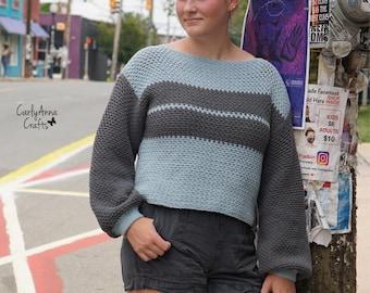 Crochet Pattern // Retro // Tunic // Top // Blouse // Sweater // Shirt // Balloon Sleeves // Oversized // Women's // Rewind Sweater PATTERN