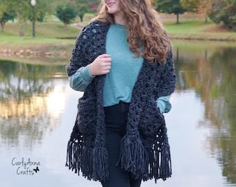 Crochet Shawl PATTERN  // Boho Shawl // Wrap  // Scarf // Pocket Scarf // Crochet Pocket Shawl Pattern // Ruana // Easy // Willow Wrap