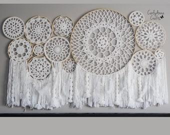 Crochet Pattern Wall Hanging Dream Catcher Collage // Crochet Nursery Housewarming Decor // Decorative Crochet Wall Art Boho Home Decor