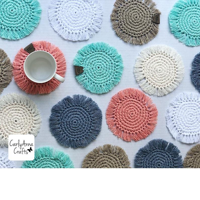 boho coasters // crochet coasters // mug rug // macrame // image 0