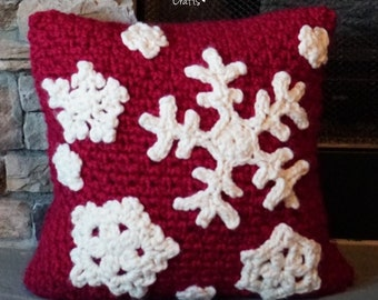 Crochet Snowflake Pillow PATTERN  // Crochet Winter Decor // Christmas Decor Pillow  // Crochet Pillow Cover // Winter Wonderland