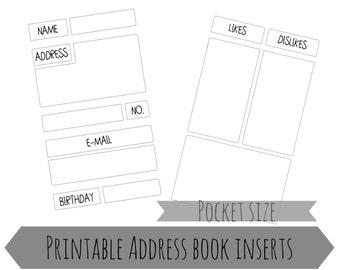 Pocket planner printable | address insert | Filofax insert