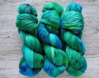 Seaside Fields, 4ply - Hand Dyed Variegated Yarn, 4ply/Sock - 27 Micron Superwash Merino, Nylon Blend Yarn, 75/25