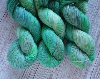 40 Shades of Green, 4ply - Handdyed Variegated Yarn, 4ply/Sock Weight, 27 Micron Superwash Merino, Nylon Blend Yarn, 75/25