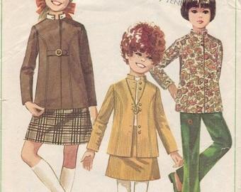 FAB Vintage 1960s Butterick 5082 Girl/'s NEHRU JACKET pattern size 10 Complete