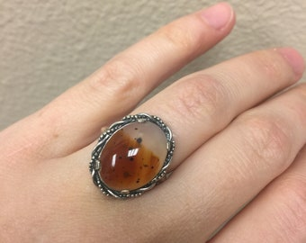 Free shipping! Sterling silver and Agate ring size 7