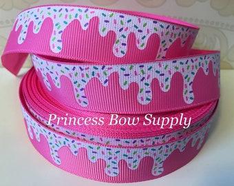 "7/8"" icecream ice cream cone sprinkles hot pink US Designer USDR grosgrain ribbon yd hair bow boutique planner dog collar supplies supply"