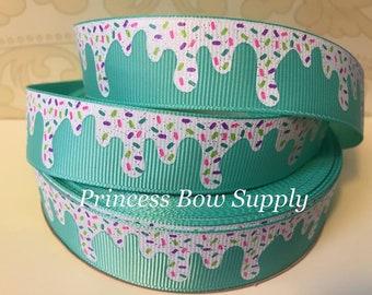 "7/8"" icecream ice cream cone sprinkles tropic teal US Designer USDR grosgrain ribbon yd hair bow boutique planner dog collar supplies supply"