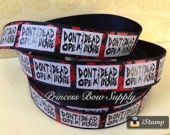 "7/8"" Don't open Dead inside zombie red blood splatter black usdr us designer grosgrain ribbon hair bow supply planner scrapbook  party"