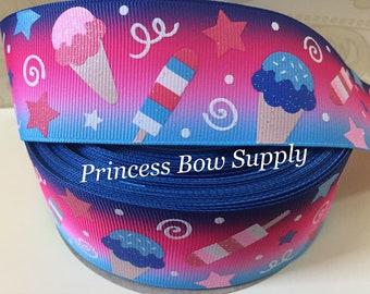 """1.5"""" ombre purple hot pink blue 4th of July icecream ice cream Freedom is sweet glitter US designer USDR grosgrain ribbon bow supply party"""