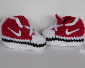 Red baby nike inspired booties, red booties, baby booties, baby shoes, baby boy shoes, baby girl shoes, baby slippers, newborn shoes