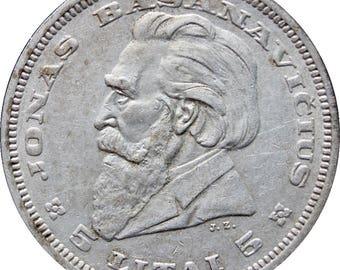 1936 5 Litai Lithuania Silver Coin Jonas Basanavičius