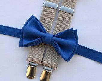 Royal Blue Bow Tie & Beige Suspenders for Baby Toddler Boy Men