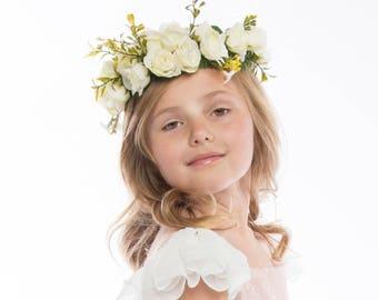 White Flower Crown -- White Roses Flower Crown -- Flower Girl Flower Crown -- Bridesmaids Flower Crown