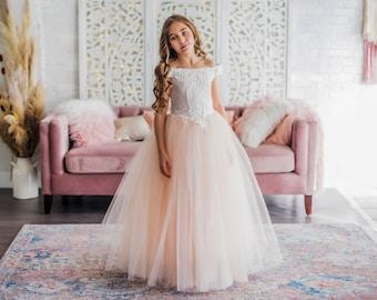 2ef9cf9f9 Blush Off Shoulder Tulle Flower Girl Dress for Weddings
