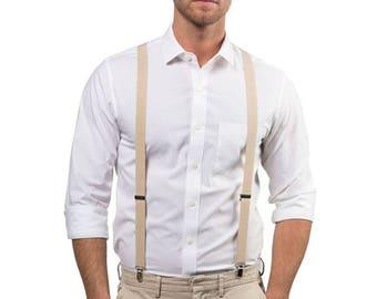 Beige Suspenders / Tan Suspenders for Baby, Toddler, Boy, Men