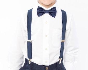 Navy Blue Bow Tie & Navy Blue Suspenders for Boys, Bow Tie Suspenders for Mens, Wedding Suspenders Bow Tie Set