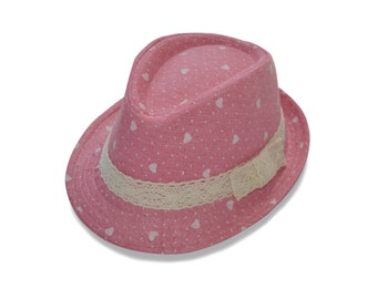 da6f8e6e77d Pink Fedora Hat for Baby Toddler Girl   Summer Beach Fedora Hat for Girls