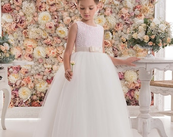 Blush flower girl dress etsy blush pink flower girl dress blush pink floor length tulle dress mightylinksfo