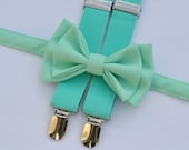 Mint Bow Tie & Mint Suspenders for Baby Toddler Boy
