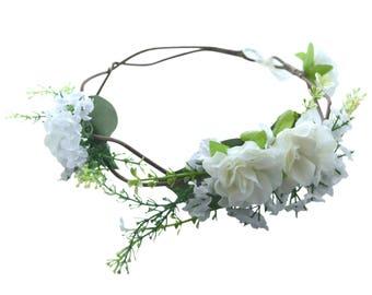 White Flower Crown -- Flower Girl Flower Crown -- Bridesmaids Flower Crown