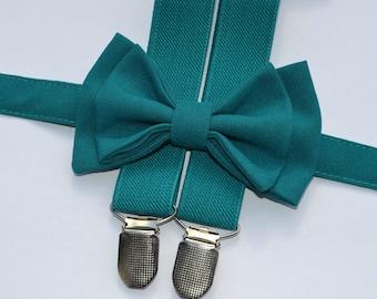 Teal Bow Tie & Teal Suspenders, Wedding Outfits, Groom, Groomsmen, Ring Bearer, Wedding Bow Ties, Wedding Suspenders