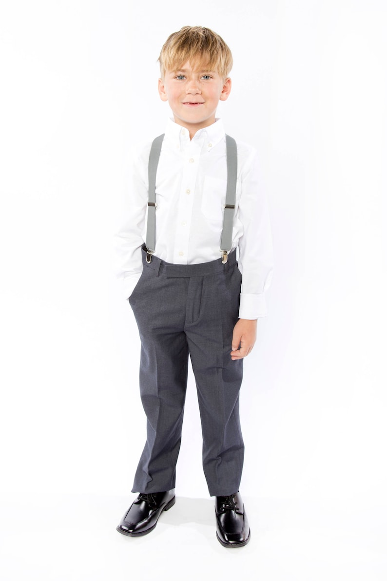 Light Gray Suspenders for Toddlers Light Grey Suspenders for image 0