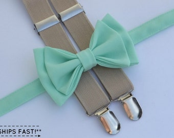 Mint Bow Tie & Beige Suspenders with Mint Pocket Square