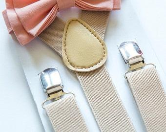 Peach Bow Tie & Beige Suspenders for Baby Toddler Boy Men