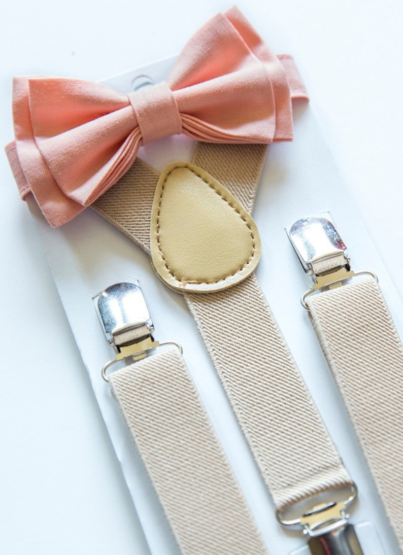 7aa8f2a54452 Peach Bow Tie & Beige Suspenders for Baby Toddler Boy Men | Etsy