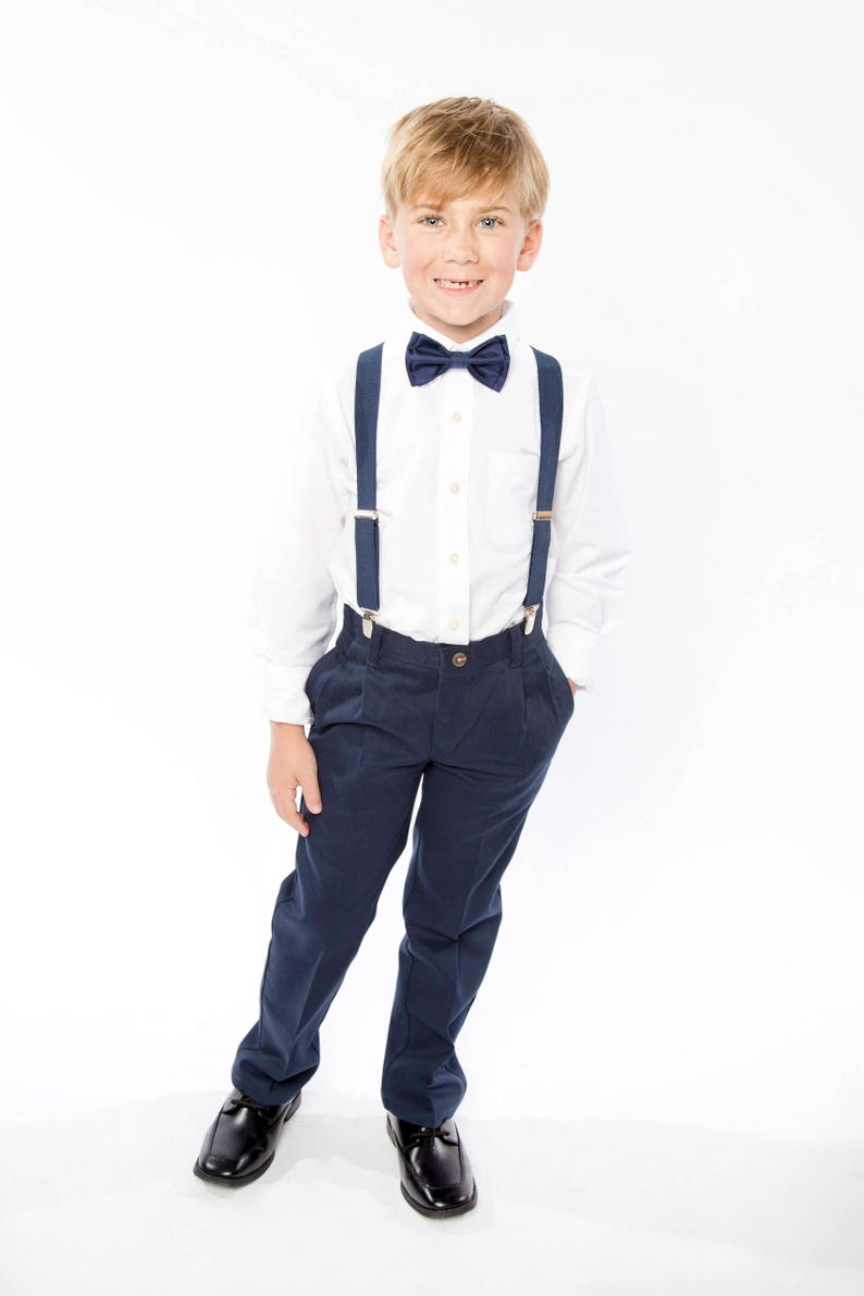 Navy Bow Tie & Navy Suspenders with Navy Pocket Square for image 0