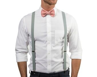 Dusty Rose Bow Tie & Gray Suspenders for Groom, Groomsmen, Ring Bearer
