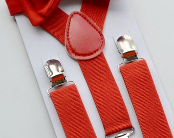 Red Bow Tie & Red Suspenders for Baby Toddler Boy Men