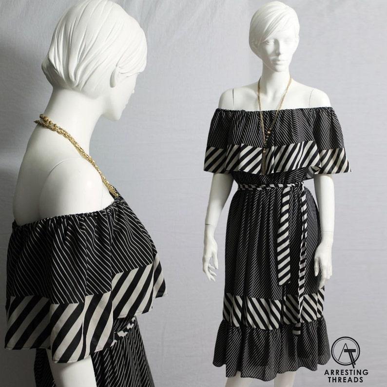80s Dress, Black White Dress, Boho Dress,