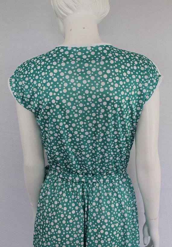 Aquamarine 80s Dress, Dotty Green Print Dress, Gr… - image 7