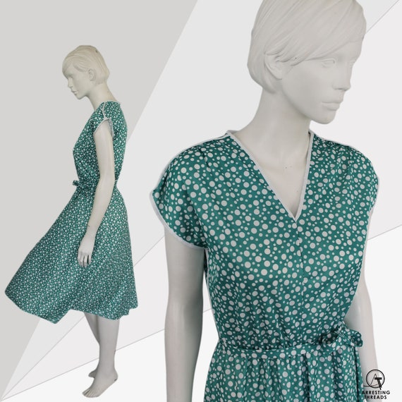 Aquamarine 80s Dress, Dotty Green Print Dress, Gr… - image 1
