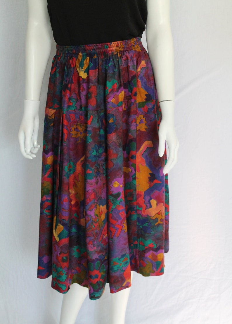New Wave 80s Skirt, Vintage Abstract Pint Skirt Abstract 80s Multicolour Skirt Elastic Waist 80s Skirt Purple Yellow Green 80s Skirt