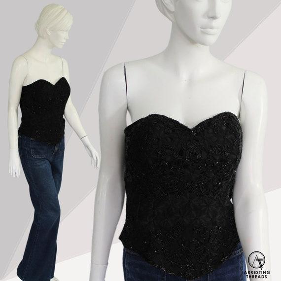 Black Beaded Bustier, Vintage Silk Bustier, Burle… - image 1