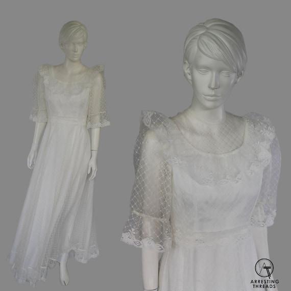 60s 70s White Netted Bib Collar Wedding Dress, Vic