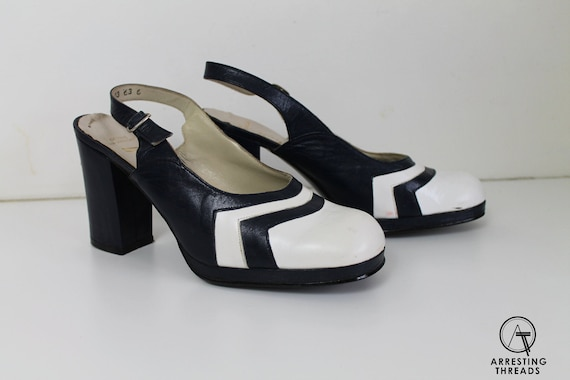 60s White Blue Platform Sandals, 60s Leather Platf