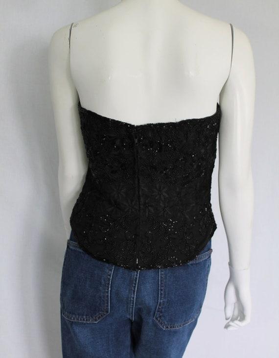 Black Beaded Bustier, Vintage Silk Bustier, Burle… - image 6